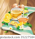 Ginger tea vector composition on wooden background 35227584