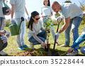 group of volunteers planting tree in park 35228444