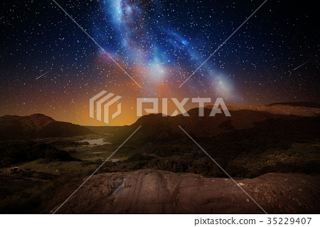 mountain landscape over night sky or space 35229407