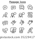 Message, Chat, discussion icon set in thin line 35229417