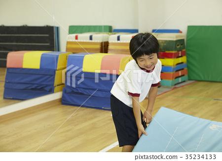 Kids preparing for exercise room mat exercise 35234133