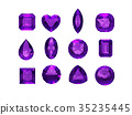 Group of  amethyst shape with clipping path 35235445