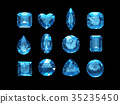 Group of  aquamarine shape with clipping path 35235450