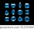 Group of blue topaz with clipping path 35235469