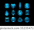 Group of blue tourmaline shape with clipping path 35235471