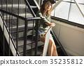 溜冰者時尚女性 35235812