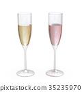 Champagne Flutes Classic Glasses set with liquid 35235970