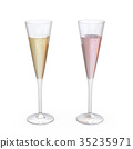 Champagne Trumpet Flutes Glasses set with liquid 35235971