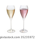 Champagne Tulip Glasses set with liquid 35235972