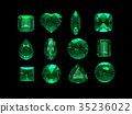 group of emerald shape with clipping path 35236022