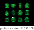 Group of green tourmaline shape with clipping path 35236026