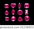 Group of pink topaz with clipping path 35236053