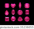 Group of pink tourmaline shape with clipping path 35236055