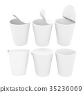 White blank label  food cup with foil lid 35236069