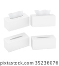 White blank rectangular size tissue box 35236076