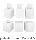 White blank square tissue box with clipping path 35236077