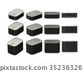 Set of black rectangle  tin cans in various sizes 35236326