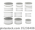 Set of white short  cylindrical tin cans 35236406