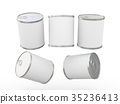 White blank label food can with pull tab 35236413
