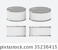 White blank label tin can set with pull tab 35236415
