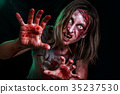 Close-up portrait of horrible zombie woman with 35237530