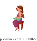 vector flat girl sitting at chair with infant baby 35238022