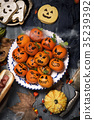 funny halloween food on a rustic table 35239392
