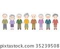 Elderly man female full body illustration single row 35239508