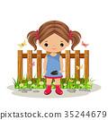 Girl gardener with a shovel 35244679
