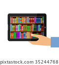 Hand holding tablet with digital books 35244768