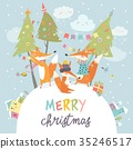 Funny foxes friends celebrating Christmas 35246517