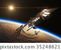 ISS And Spacecraft In The Background Of Rising Sun 35248621