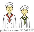 요리사 코트 젊은 남녀 35249317