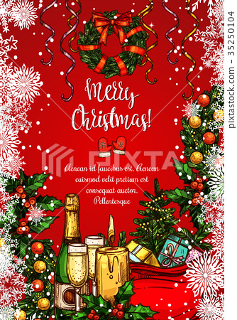 Christmas holiday festive dinner sketch banner 35250104