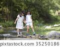 개울, 소녀, 어린이 35250186