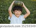 소년, 어린이, 채소 35250349