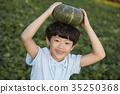 소년, 어린이, 채소 35250368