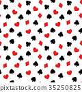 Playing card motif seamless (continuous) pattern Background material White background, vector 35250825