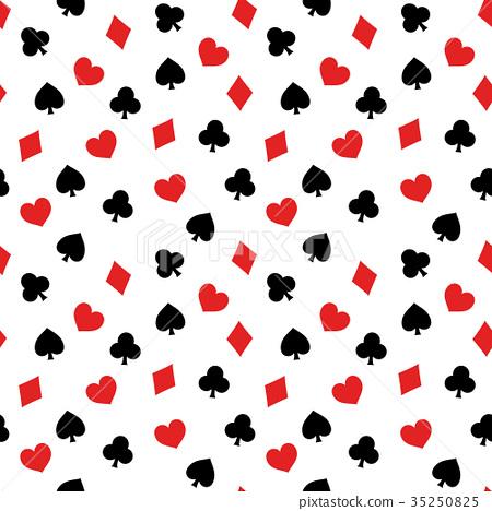紙牌主題無縫(連續)樣式背景材料白色背景,傳染媒介 35250825