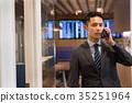 business man, airport, smart phone 35251964