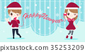 cartoon people with christmas 35253209