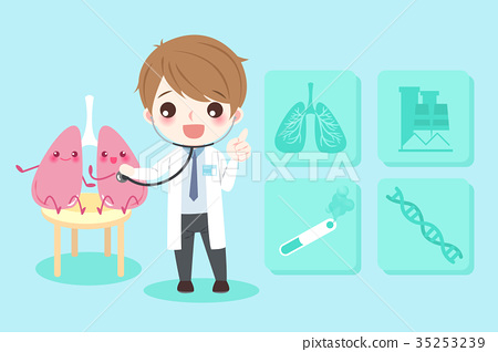cartoon doctors with lungs 35253239