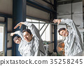 공장 인물 라디오 체조 35258245