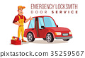 Car Locksmith Worker Service Vector.  35259567