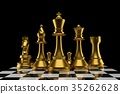 chess of group in gold color in 3D rendering 35262628