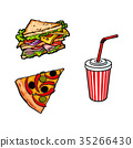 pizza, sandwich, vector 35266430