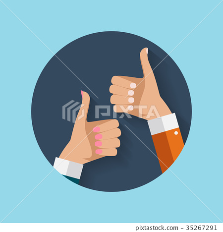Flat Design Thumbs Up Icon Background . Vector 35267291