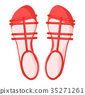 Pair of Red Female Sandals Isolated Illustration 35271261