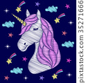 Embroidery design of unicorn. 35271666