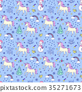 pattern with unicorns and other elements 35271673